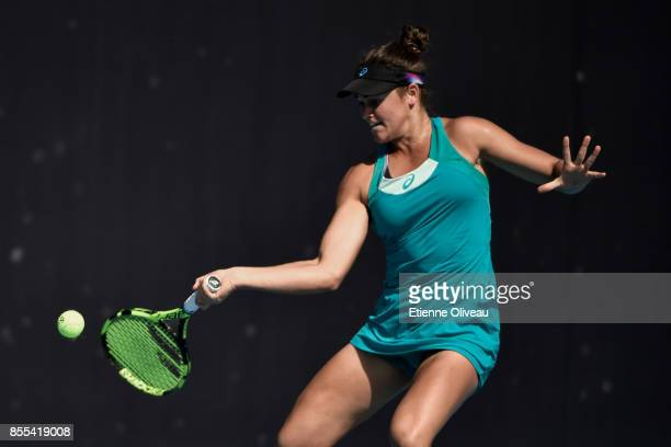 Jennifer Brady of the United States plays a forehand against Danka Kovinic of Montenegro in their Women's qualification match during the 2017 China...