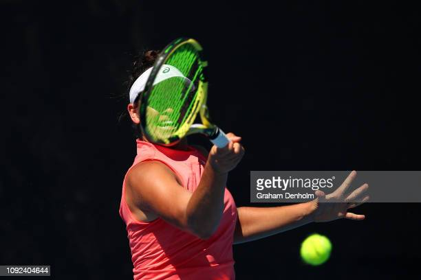 Jennifer Brady of the United States plays a forehand in her match against Beatriz Haddad Maia of Brazil during Qualifying ahead of the 2019...
