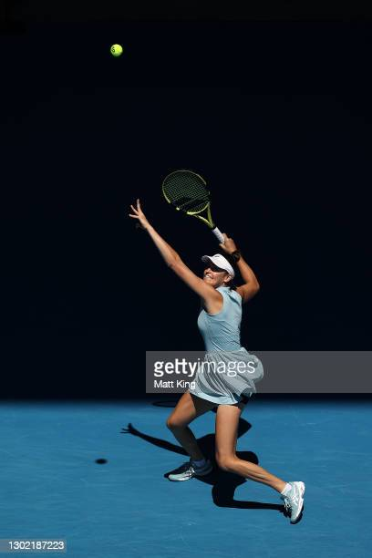 Jennifer Brady of the United States plays a forehand in her Women's Singles fourth round match against Donna Vekic of Croatia during day eight of the...