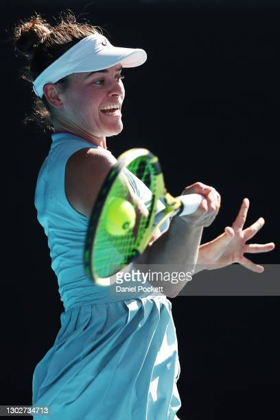 Jennifer Brady of the United States plays a forehand in her Women's Singles Semifinals match against Karolina Muchova of the Czech Republic during...