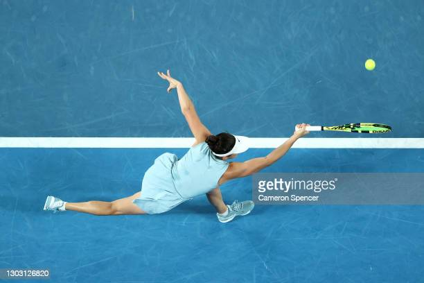 Jennifer Brady of the United States plays a forehand in her Women's Singles Final match against Naomi Osaka of Japan during day 13 of the 2021...