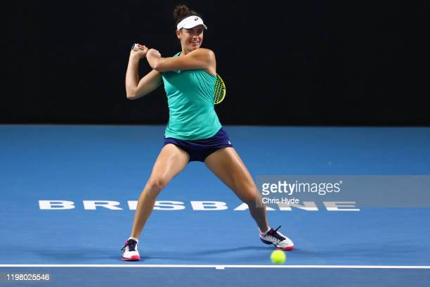 Jennifer Brady of the United States plays backhand in her match against Maria Sharapova of Russia during day two of the 2020 Brisbane International...