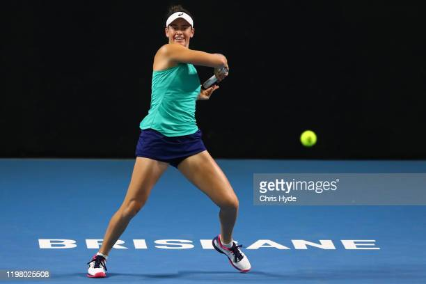 Jennifer Brady of the United States plays forehand in her match against Maria Sharapova of Russia during day two of the 2020 Brisbane International...
