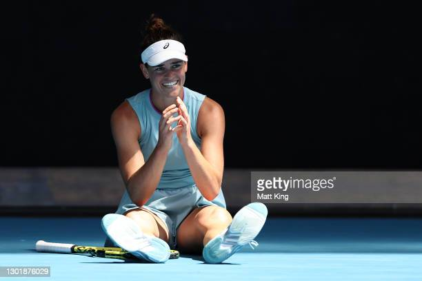 Jennifer Brady of the United States reacts after falling over in her Women's Singles third round match against Kaja Juvan of Slovenia during day six...