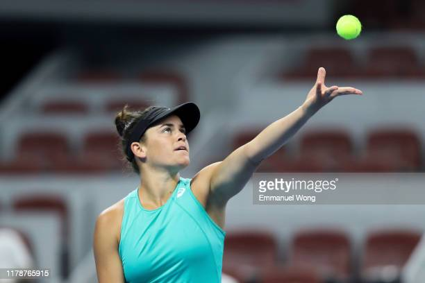 Jennifer Brady of the United States serves against Bianca Andreescu of Canada during the Women's singles 3rd round of 2019 China Open at the China...