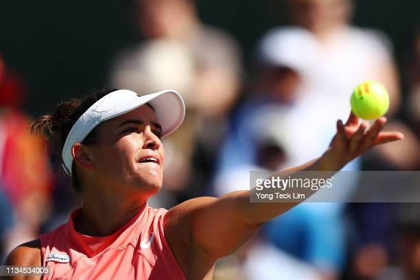 Jennifer Brady of the United States serves against Caroline Garcia of France during their women's singles first round match on Day 5 of the BNP...