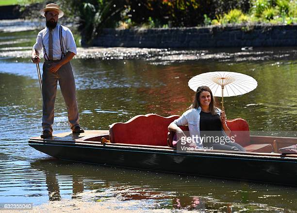 Jennifer Brady of the United States takes a private guided boat tour at the Royal Botanic Gardens during day seven of the 2017 Australian Open at...