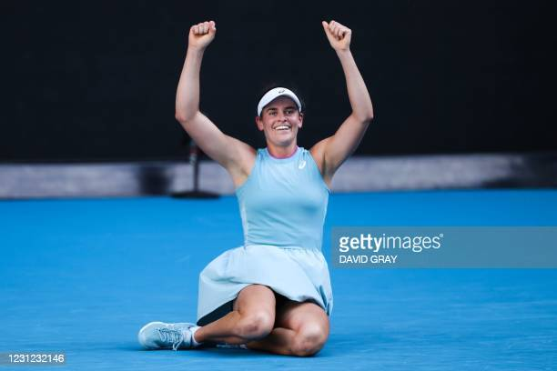 Jennifer Brady of the US celebrates winning against Czech Republic's Karolina Muchova during their women's singles semi-final match on day eleven of...