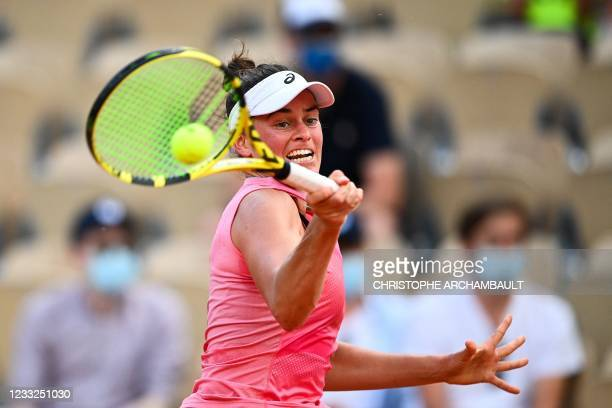 Jennifer Brady of the US returns the ball to France's Fiona Ferro during their women's singles second round tennis match on Day 5 of The Roland...