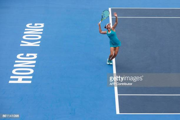 Jennifer Brady of the US serves against Australia's Daria Gavrilova during their women's singles semifinal match at the Hong Kong Open tennis...