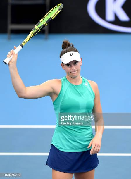 Jennifer Brady of the USA celebrates victory in her match against Ashleigh Barty of Australia during day four of the 2020 Brisbane International at...