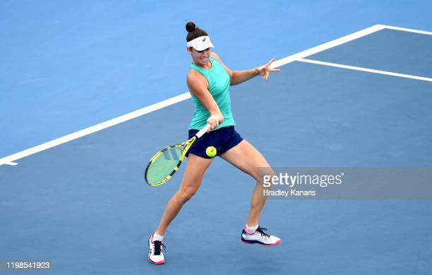 Jennifer Brady of the USA plays a forehand in her match against Petra Kvitova of The Czech Republic during day five of the 2020 Brisbane...