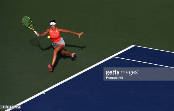 Jennifer Brady of United States plays a forehand during day two of the WTA Dubai Duty Free Tennis Championship at the Dubai Tennis Stadium on...