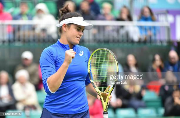Jennifer Brady of United States reacts as she plays against Caroline Garcia of France during day six of the Nature Valley Open at Nottingham Tennis...