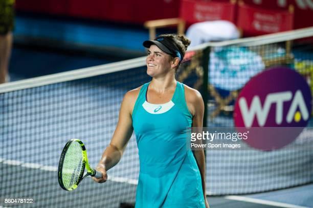 Jennifer Brady of USA celebrates after winning Shuai Zhang during the Prudential Hong Kong Tennis Open 2017 match between Jennifer Brady of USA and...