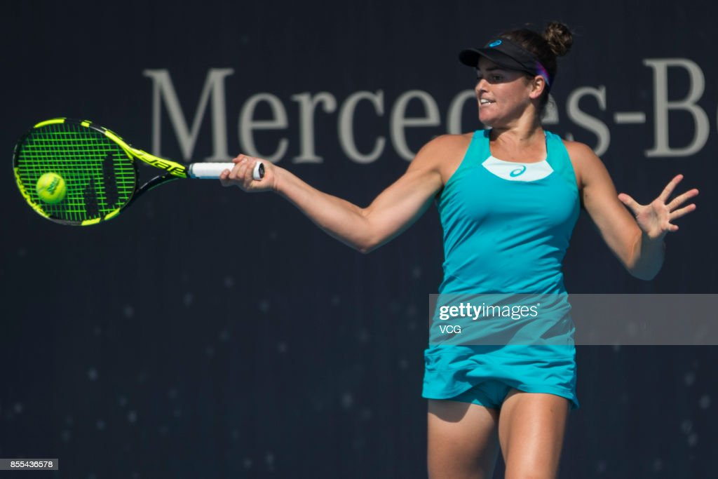 Jennifer Brady of USA hits a forehand during Women's singles qualification match against Danka Kovinic of Montenegro during the 2017 China Open at National Tennis Center on September 29, 2017 in Beijing, China.