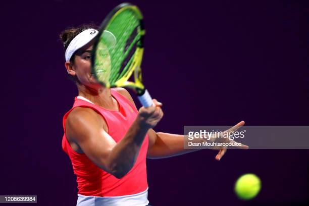 Jennifer Brady of USA returns a forehand against Ons Jabeur of Tunisia during Day 3 of the WTA Qatar Total Open 2020 at Khalifa International Tennis...