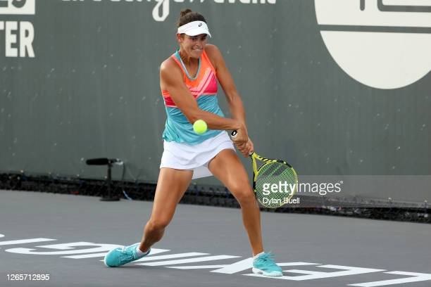 Jennifer Brady plays a backhand during her match against Magda Linette of Poland during day three of the Top Seed Open at the Top Seed Tennis Club on...