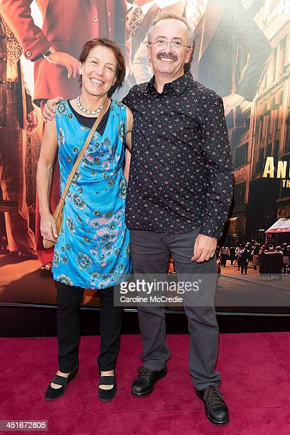 """Jennifer Byrne and Andrew Denton arrive at the """"Anchorman 2: The Legend Continues"""" Australian premiere on November 24, 2013 in Sydney, Australia."""