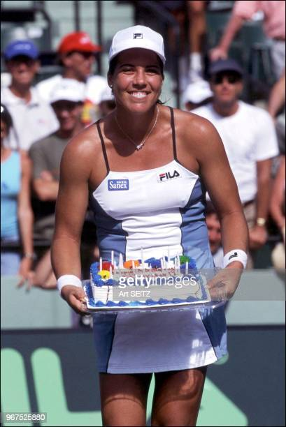 Jennifer Capriati celebrates her 25th birthday at the 2001 Ericsson Open Tennis Tournament Capriati completed the celebration with a semifinal...