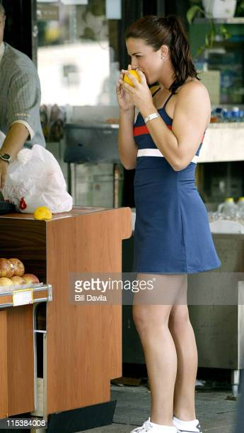 Jennifer Capriati during On the Set - Jennifer Capriati Filming an American Express TV Commercial in New York City, New York, United States.