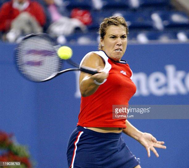 Jennifer Capriati in a rain delayed match that started at 130pm and ended at 830pm at the 2003 US Open fourth round women's singles on September 1...