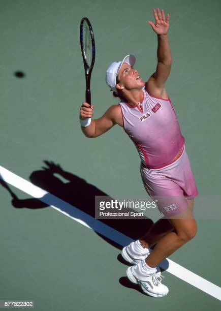 Jennifer Capriati of the USA in action against Martina Hingis of Switzerland during the Women's Singles Final of the Australian Open Tennis...