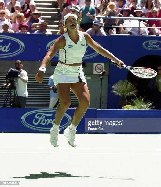Jennifer Capriati of the USA jumps in celebration after defeating Martina Hingis of Switzerland in the Women's Singles Final of the Australian Open...