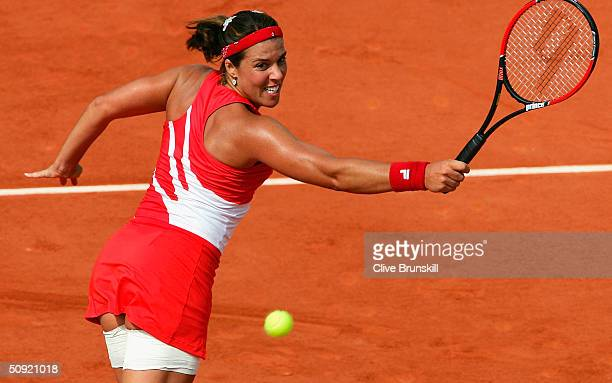 Jennifer Capriati of the USA returns in her semi final match against Anastasia Myskina of Russia during Day Eleven of the 2004 French Open Tennis...