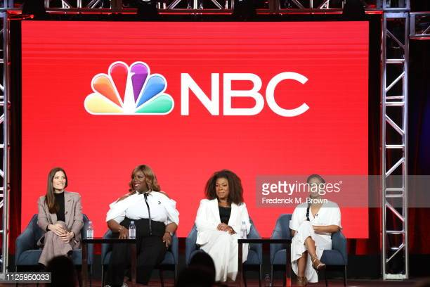 Jennifer Carpenter Retta Lorraine Toussaint and Susan Kalechi Watson speak on the Women of Drama panel during the NBCUniversal portion of the...