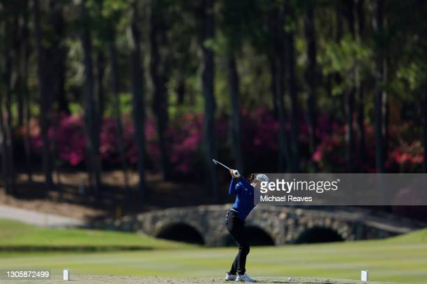 Jennifer Chang of the United States plays her shot from the 11th tee during the final round of the LPGA Drive On Championship at Golden Ocala Golf...