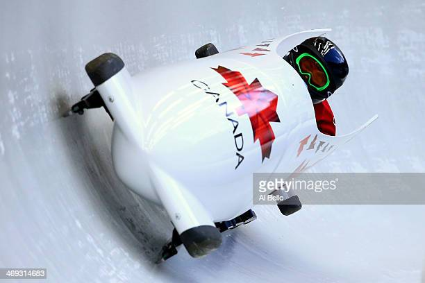 Jennifer Ciochetti of Canada pilots a run during a Women's Bobsleigh training session on day 7 of the Sochi 2014 Winter Olympics at the Sanki Sliding...