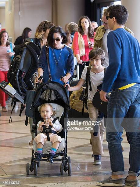 Jennifer Connelly and her husband Paul Bettany with children Kai Dugan Stellan Bettany and Agnes Lark Bettany are seen on June 02 2013 in Los Angeles...