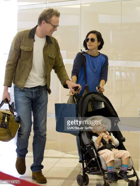 Jennifer Connelly and husband Paul Bettany with Agnes Lark Bettany are seen on June 02 2013 in Los Angeles CA