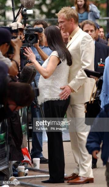Jennifer Connelly and Paul Bettany talk to the press as they arrive at the premiere of The Hulk at the Empire cinema in London's Leicester Square