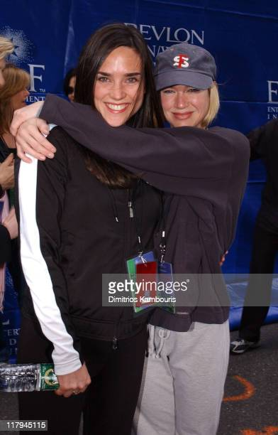 Jennifer Connelly and Renee Zellweger during 6th Annual Revlon Run/Walk for Women at Times Square in New York City New York United States