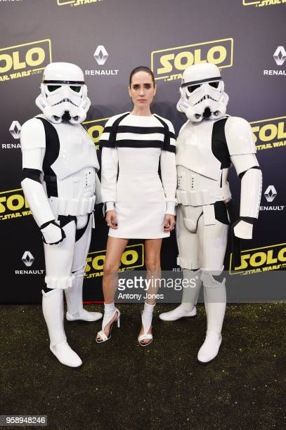 Jennifer Connelly and Stormtroopers attend a 'Solo A Star Wars Story' party at the Carlton Beach following the film's out of competition screening...