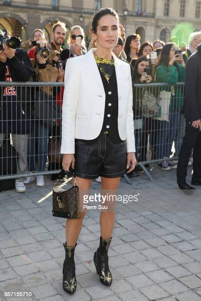 Jennifer Connelly arrives at the Louis Vuitton show as part of the Paris Fashion Week Womenswear Spring/Summer 2018 on October 3 2017 in Paris France