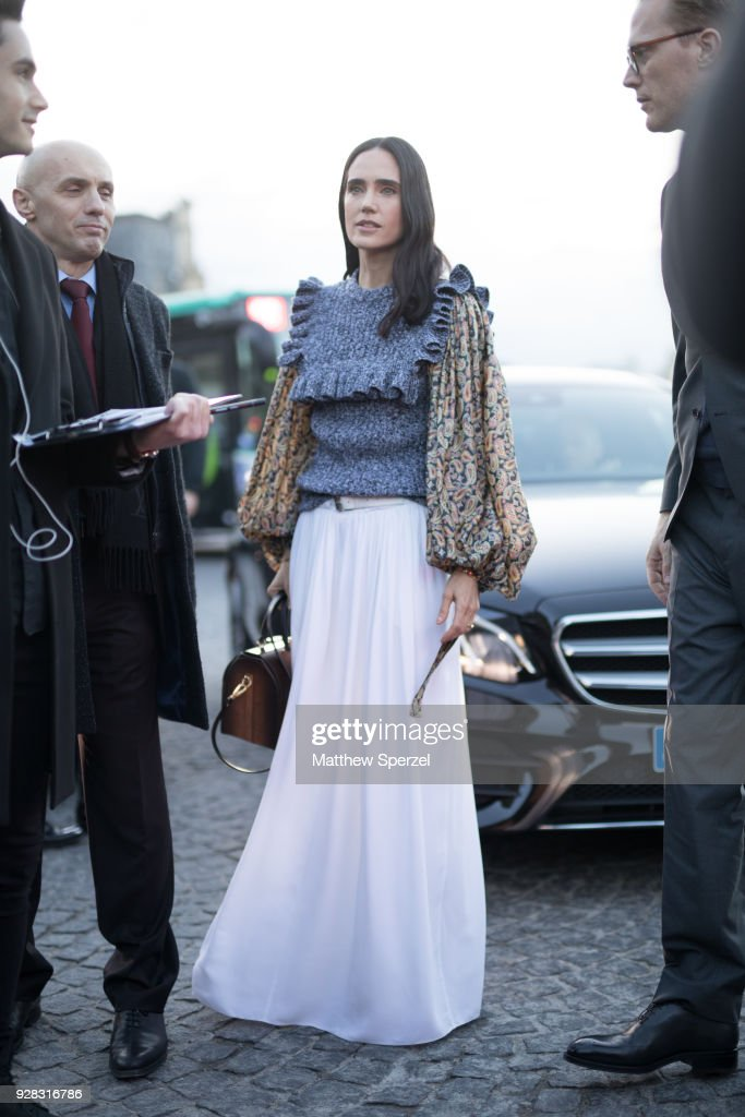 Jennifer Connelly is seen on the street attending Louis Vuitton during Paris Women's Fashion Week A/W 2018 on March 6, 2018 in Paris, France.