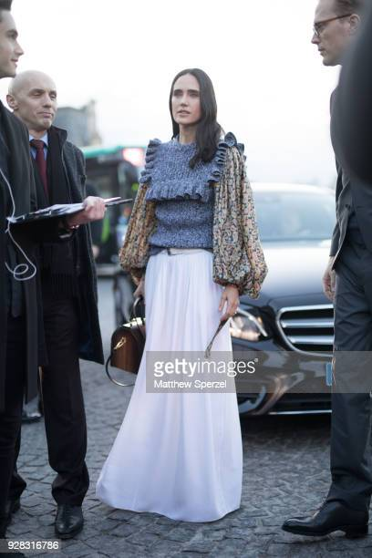 Jennifer Connelly is seen on the street attending Louis Vuitton during Paris Women's Fashion Week A/W 2018 on March 6 2018 in Paris France