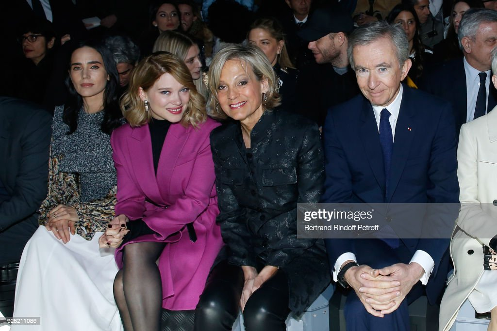 Jennifer Connelly, Lea Seydoux, Helene Arnault and Owner of LVMH Luxury Group Bernard Arnault attend the Louis Vuitton show as part of the Paris Fashion Week Womenswear Fall/Winter 2018/2019 on March 6, 2018 in Paris, France.