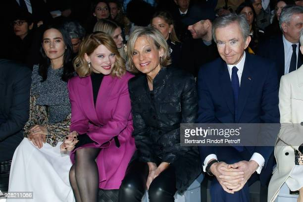 Jennifer Connelly Lea Seydoux Helene Arnault and Owner of LVMH Luxury Group Bernard Arnault attend the Louis Vuitton show as part of the Paris...