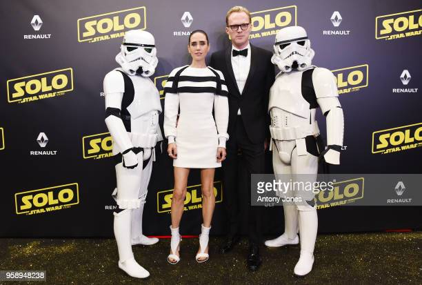 Jennifer Connelly Paul Bettany and Stormtroopers attend a 'Solo A Star Wars Story' party at the Carlton Beach following the film's out of competition...