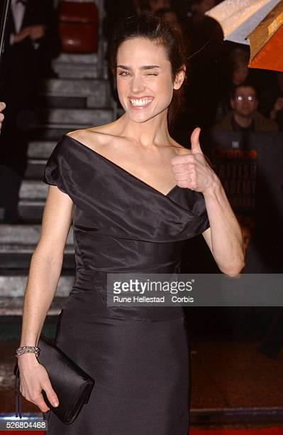 Jennifer Connelly winner of Best Performance by an Actress in a Supporting for 'A Beautiful Mind' arrives at the Orange sponsored BAFTA Awards