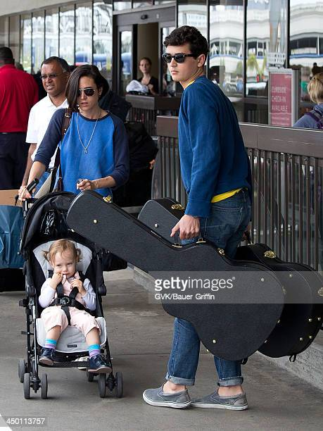 Jennifer Connelly with children Kai Dugan and Agnes Lark Bettany are seen on June 02 2013 in Los Angeles CA
