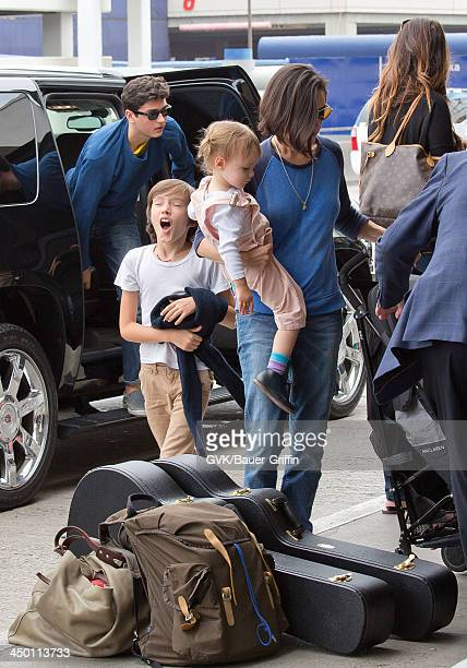 Jennifer Connelly with children Kai Dugan Stellan Bettany and Agnes Lark Bettany are seen on June 02 2013 in Los Angeles CA