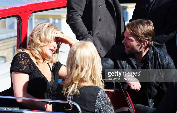 Jennifer Coolidge and Sean William Scott while on an open top bus in London to promote their new film American PieReunion