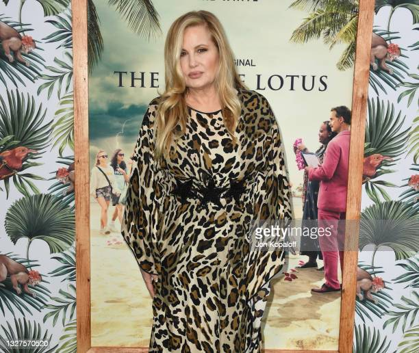 """Jennifer Coolidge arrives at the Los Angeles Premiere Of New HBO Limited Series """"The White Lotus"""" at Bel-Air Bay Club on July 07, 2021 in Pacific..."""
