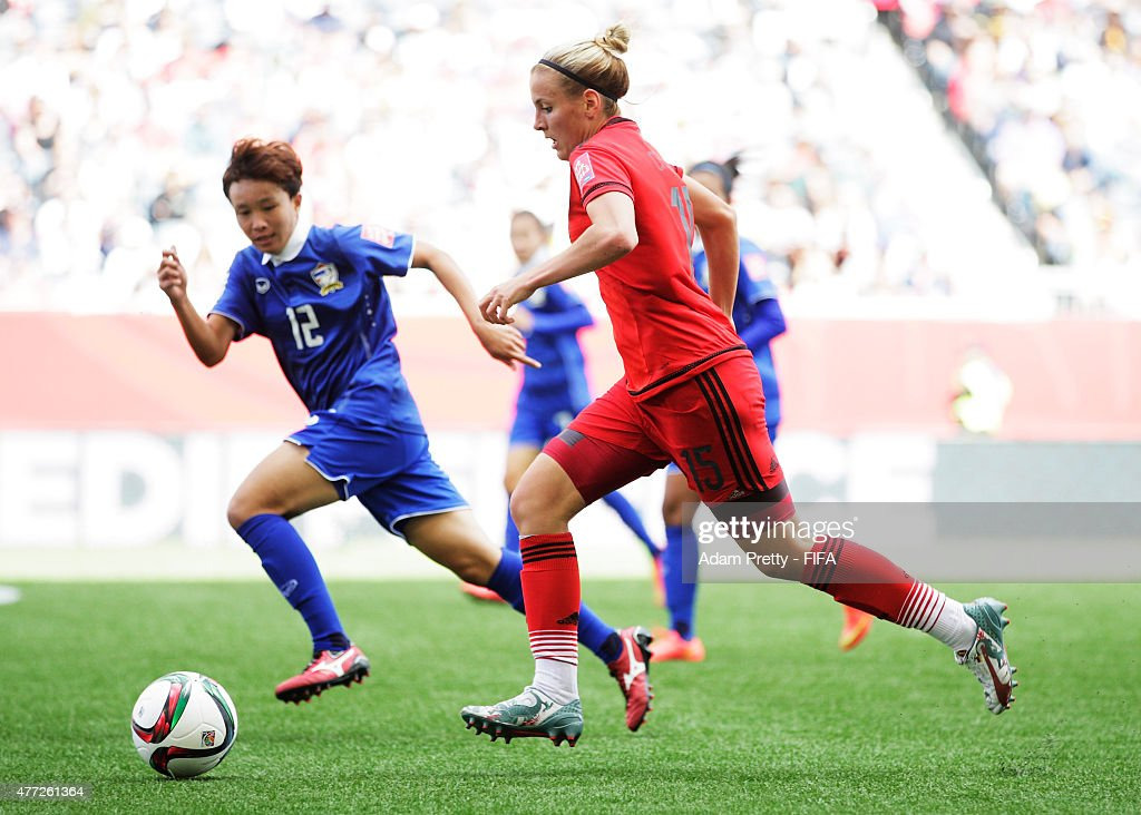 Jennifer Cramer of Germany in action during the FIFA Women's World Cup 2015 Group B match between Thailand and Germany at Winnipeg Stadium on June 15, 2015 in Winnipeg, Canada.