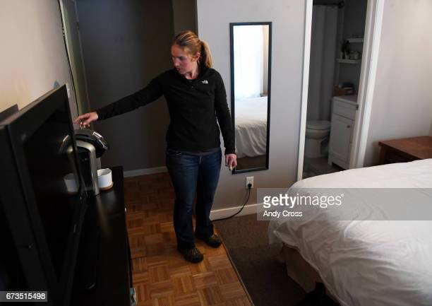 Jennifer DahirKanehl checks the coffee maker in her lockoff room that's attached to her condo April 26 2017 in Breckenridge Colorado DahirKanehl uses...
